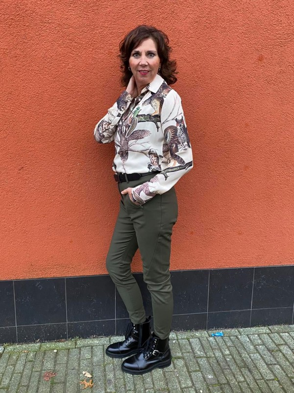 Print blouse wit broek