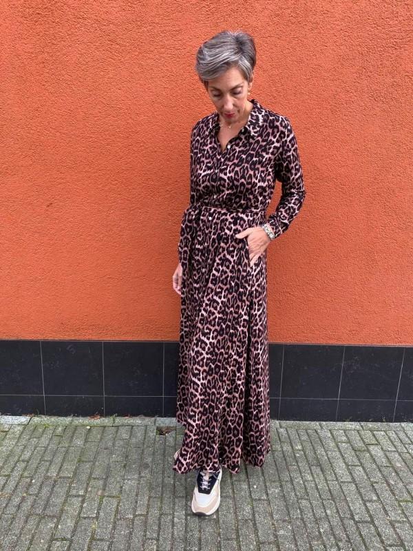 Trend alert jurk print bruin