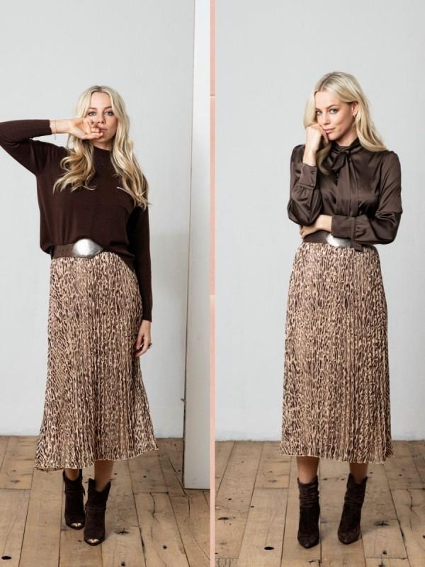 Trend plisse rok trui blouse