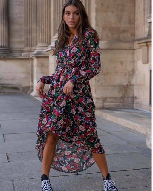 Kleur jurk print bloem